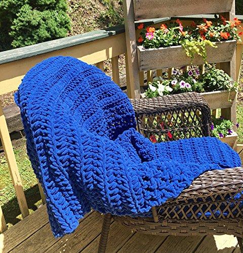 Kay's Crochet Bulky Blue Crochet Blanket Afghan Made in the USA