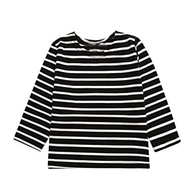 b185425981 Amazon.com: Napoo Toddler Kids Baby Boy Girl Long Sleeve Striped Print T- Shirt Tops: Clothing