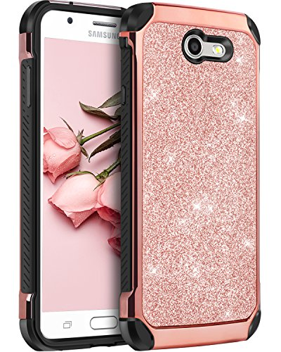 Galaxy J3 Emerge Case, Samsung Galaxy J3 Prime/J3 Luna Pro/J3 Eclipse/Express Prime 2/Amp Prime 2/Sol 2/J3 Mission/J3 2017 Phone Cases BENTOBEN Bling Glitter 2 Layer Cover for J3, Rose Gold