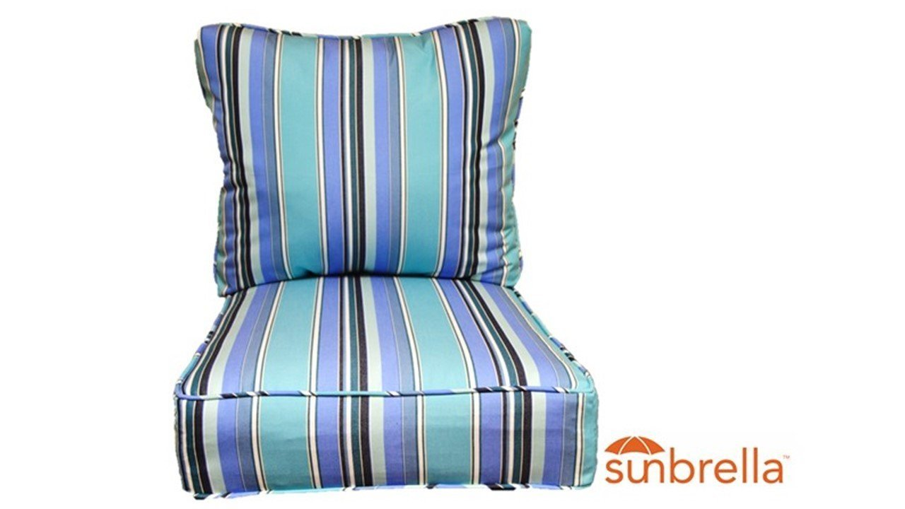 Resort Spa Home Decor Sunbrella Dolce Oasis ~Blue White Black Stripe~ Cushion Set for Indoor/Outdoor Deep Seat Furniture Chair - Choose Size (Seat Cushion 24''w X 24''d)