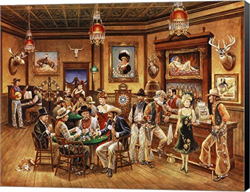 Western Saloon by Lee Dubin Canvas Art Wall Picture, Museum Wrapped with Black Sides, 38 x 30 inches]()