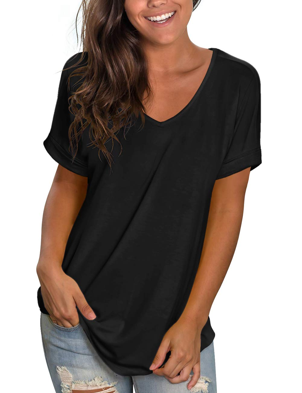 NIASHOT Women's Casual Short Sleeve Solid Criss Cross Front V-Neck T-Shirt Tops