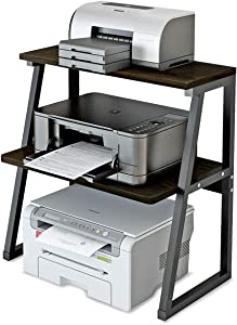 Deston Printer Stand with 3-Tier Storage Shelves, Large Size Multi-Purpose Desktop Organizer for Printer, Copier, Scanner, Files and Books, 3 Tiers Shelves with Steel Frame for Home and Office, Black