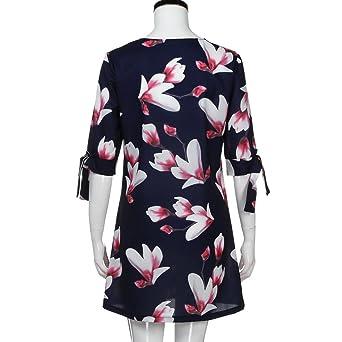 Overdose Vestido Sueltos para Mujer con Estampado Mini Floral Bowknot Mini Casual Mitad De Fiesta: Amazon.es: Ropa y accesorios