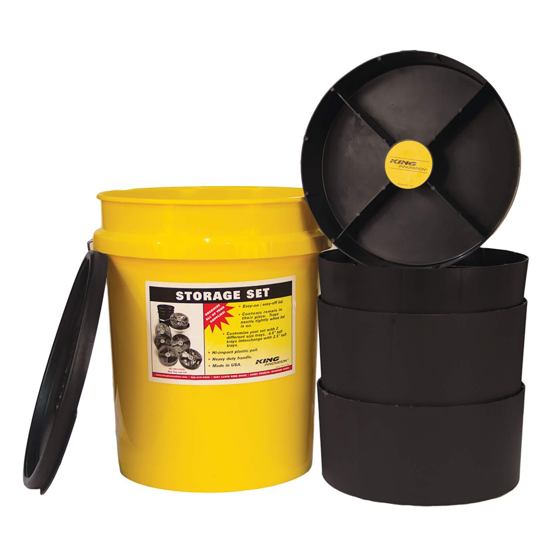 KING INNOVATIONS 47502 Yellow Storage Organizer Bucket,