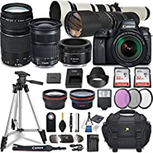 Canon EOS 6D Mark II DSLR Camera w/ 7 Lens Bundle including EF 24-105mm f/3.5-5.6 IS STM + 2.2x Telephoto & 0.43x Aux Wide Angle Lens + 2Pcs 32GB SD + Accessories with Premium Commander Kit (32 Items)