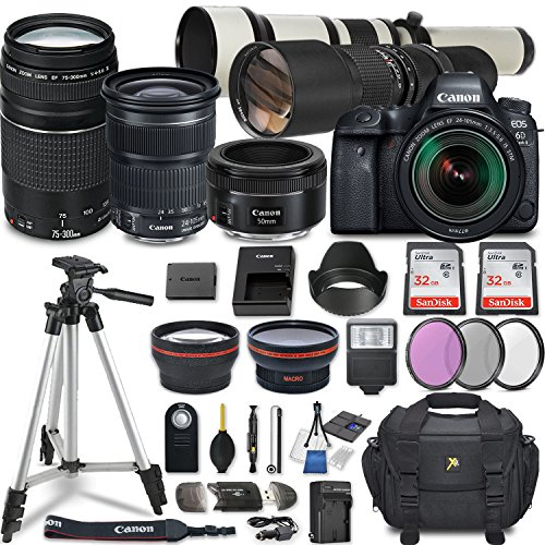 Canon EOS 6D Mark II DSLR Camera w/ 7 Lens Bundle including EF 24-105mm f/3.5-5.6 IS STM + 2.2x Telephoto & 0.43x Aux Wide Angle Lens + 2Pcs 32GB SD + Accessories with Premium Commander Kit (32 Items) For Sale