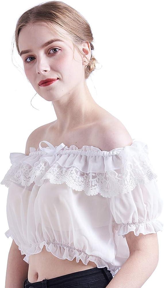 BESSUME 1 PC Mujer Soplo Manga Con volantes Blusa Gasa Lolita Cordón Parte superior Corto Manga Camisa (Blanco): Amazon.es: Ropa y accesorios