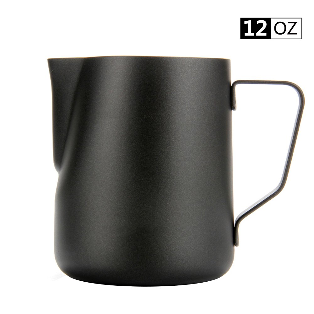 Espresso Coffee Milk Frothing Pitcher,WeHome Stainless Steel Creamer Macchiato Cappuccino Latte Art Making Pitcher Cups Perfect Christmas Gift for Your Family and Friends,12 oz/350ML by WeHome (Image #1)