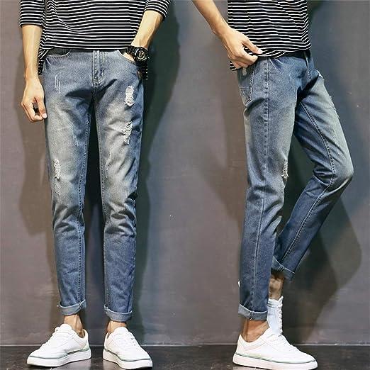 Dong Jeans Spring New Tide Brand Jeans Para Hombres Pantalones Casuales Para Jovenes Pantalones De Pies Coreanos Delgados B 36 Amazon Es Hogar