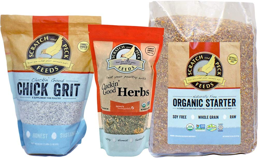 Chick Starter Kit - Includes Naturally Free Organic Starter Feed, Chick Grit, and Organic Herbs - Scratch and Peck Feeds by SCRATCH AND PECK FEEDS YOU ARE WHAT YOUR ANIMALS EAT