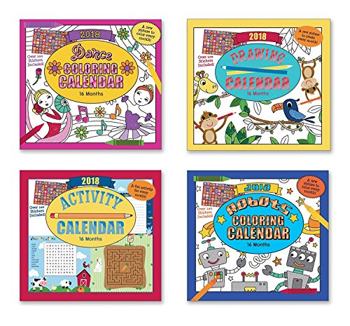 2018 Dance Coloring , Drawing, Activity and Aobots Coloring 16 Months Assorted Calendar