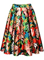 Miusol Women's Vintage 1920'S Skater Pleated Print Casual Swing Skirt