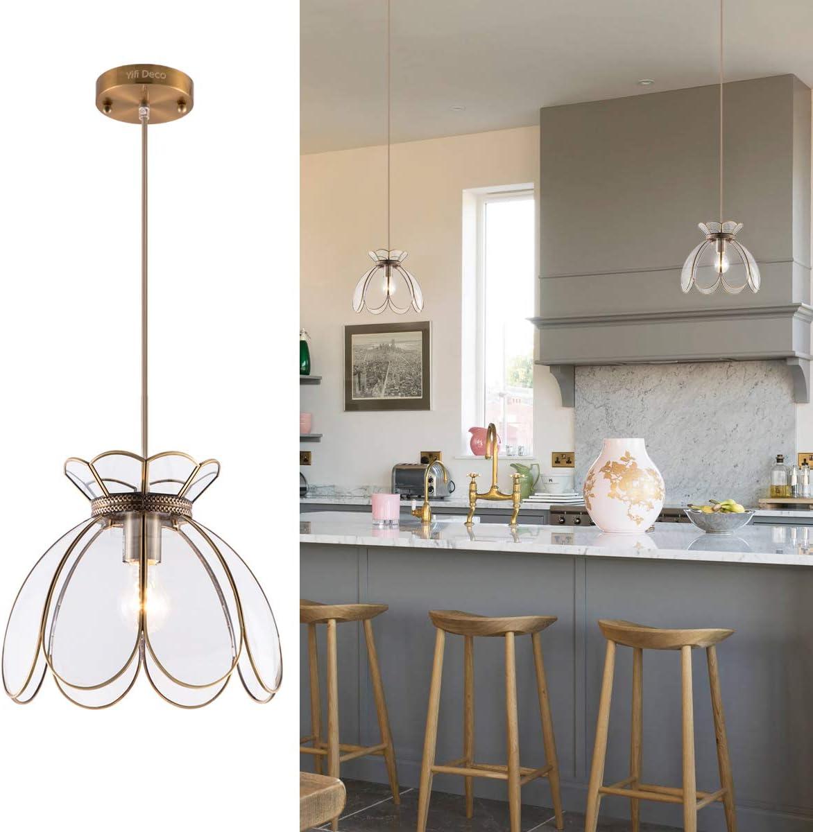 YIFI Deco Adjustable Pendant Light Brass Vintage Glass Lotus Flower Ceiling Pendant Light for Kitchen Island Dining Room Bedroom Living Room, Clear