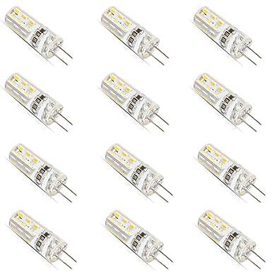 12 bombillas led G4 de 1,5 vatios, CC, 12 V, 3014-SMD, bombillas de repuesto para lámpara halógena de 10 W, blanco cálido: Amazon.es: Iluminación