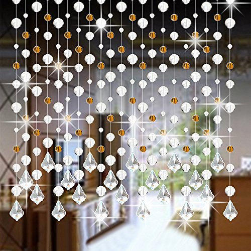 Hot Sale!DEESEE(TM)Crystal Glass Bead Curtain Luxury Living Room Bedroom Window Door Wedding Decor (D)]()