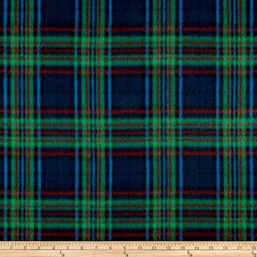 Textile Creations Batiks Fleece Plaid Navy/Green Fabric by The Yard, ()