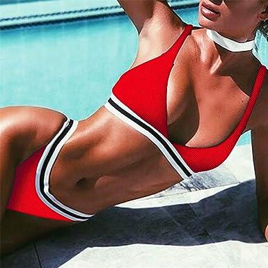 32e3514c652 Amazon.com: WANQUIY Women's Sporty Bathing Suit Ladies Stripe Bra ...
