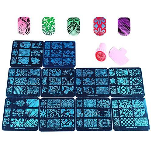 Finger Angel 10Pcs Nail Plates +1 Nail Stamper + 1 Nail Scraper Nail Art Image Stamp Stamping Plates Manicure Template Nail Art Tools (A1-10) ()