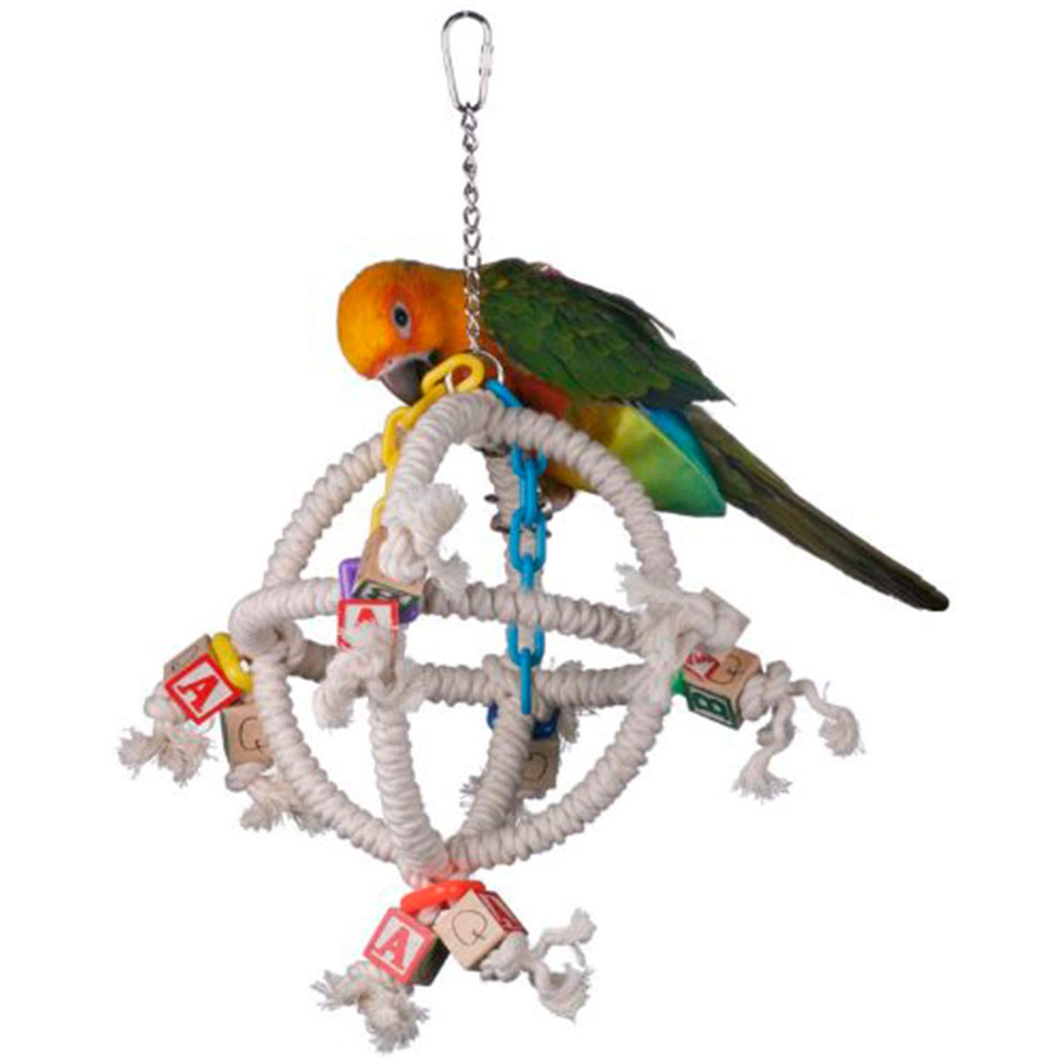 Super Bird Creations SB445 Fun Round Swinging Orbiter Bird Toy, Small to Medium Size, 14'' x 10'' x 10'' by SUPERBIRD