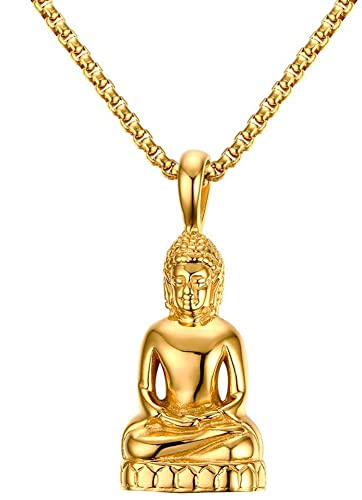 Amazon hijones mens stainless steel buddhist buddha pendant hijones mens stainless steel buddhist buddha pendant gold plated chain necklace aloadofball Image collections