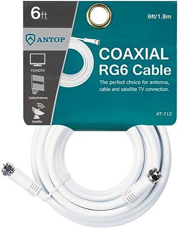 ANTOP - Cable coaxial de 1,8 m para Antena de TV, televisión por Cable, receptores de satélite y componentes Digitales, Color Blanco