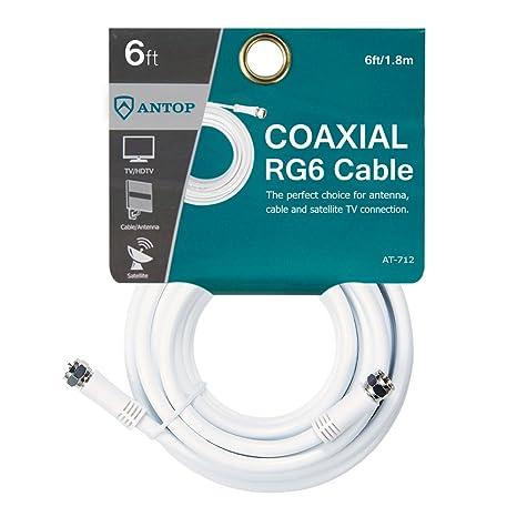 Cable coaxial RG6 de 1,8 m, extensión de cable de antena de TV