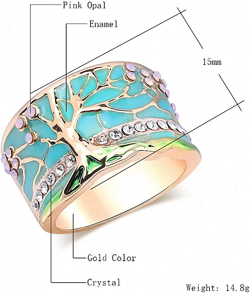 Surhel Lucky Flower Tree Rings Gold Pink Opal Green Enamel Wide Ring for Woman Party Crystal Vintage Jewelry