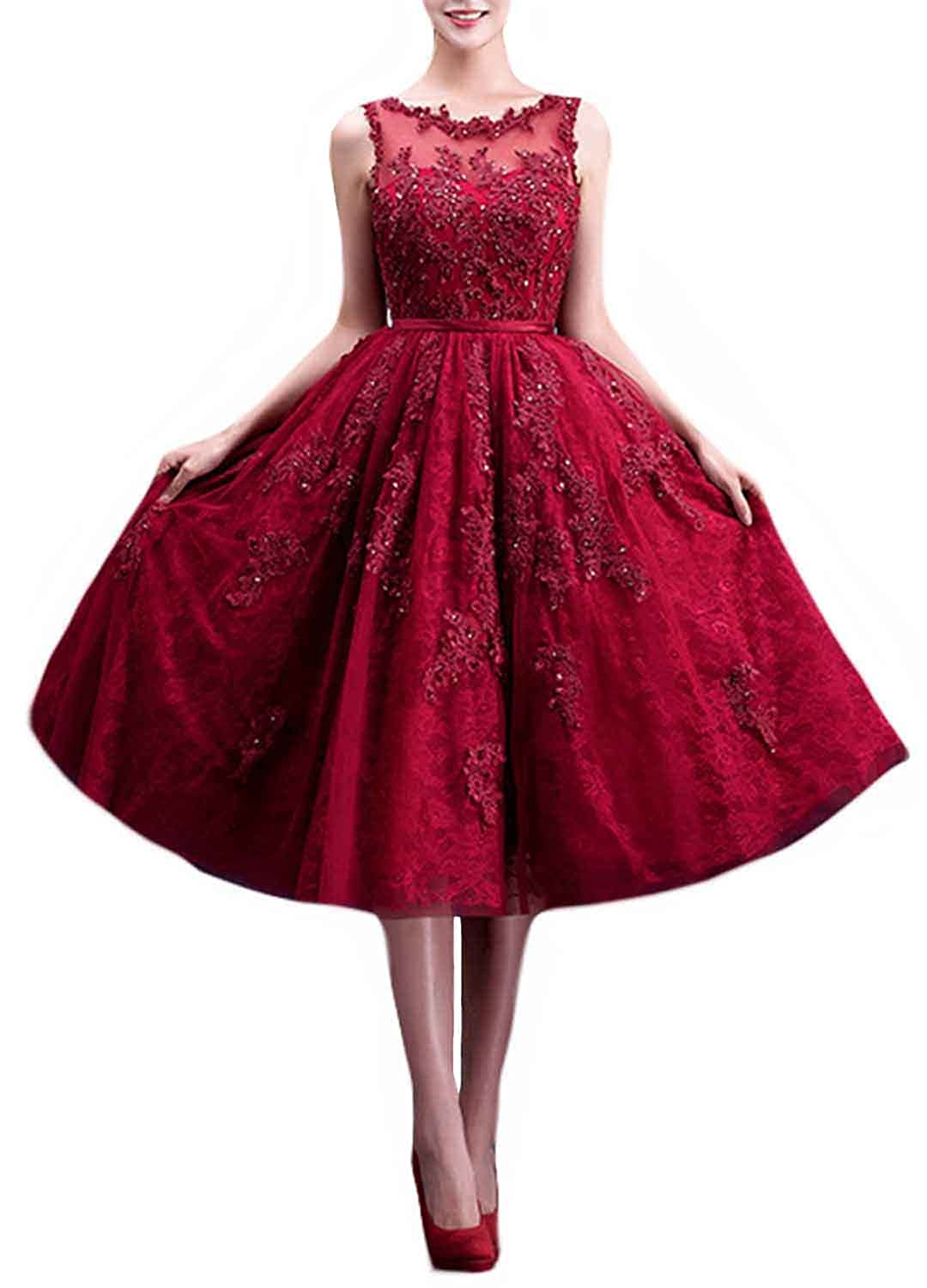 FANHAO Women Embroidery Lace Zipper Tea-length Ball Gown Bridesmaid Dress Burgundy XS FH-YFLF-XL36-BGXS