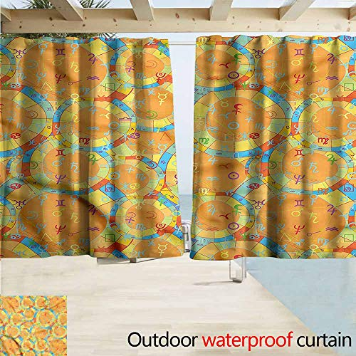 Rod Pocket Top Blackout Curtains/Drapes Constellation Zodiac Chart Symbols Room Darkening, Noise Reducing W55x39L - Canvas Chart Yarn