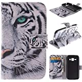G355M Case Samsung Galaxy G355M Kickstand Case,Bat King Tribe Mighty Tiger Pattern Premium Leather Wallet Flip Kicstand Case Cover With Magnetic Closure For Samsung Galaxy Core 2 Dual G355M