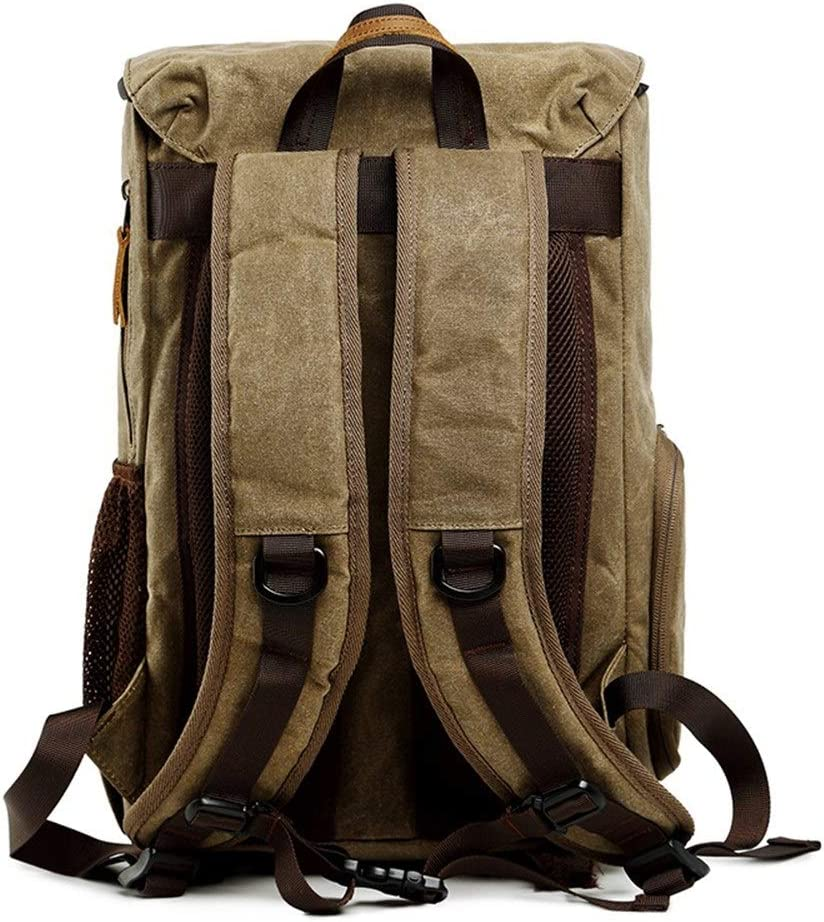 Teerwere Photography Laptop Backpack Camera Backpack Waterproof Photography Bag Large Capacity Multifunctional Camera Backpack for DslCamera Lens and Accessories Color : Khaki, Size : 30x19x42cm