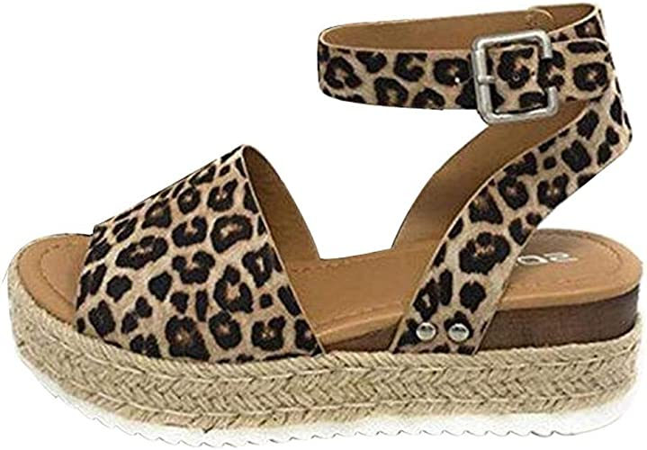 High Heel Wedges Sandal Leopard Print