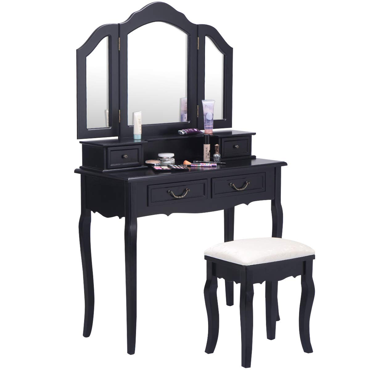 Giantex Bathroom Vanity Set Dressing Table with Stool and Tri Folding Makeup Mirror Home Bedroom Vanities Furniture Cushioned Seat Bench Wood Finish Dresser Dressing Tables with 4 Drawers, Black