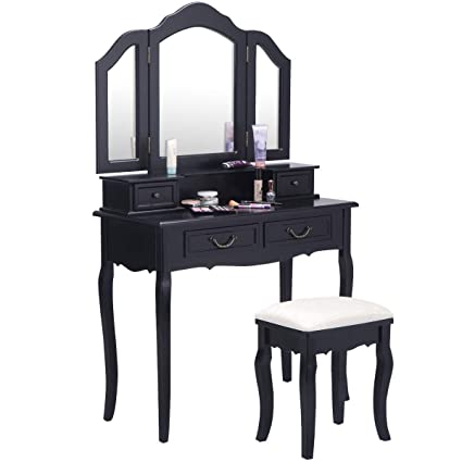 Giantex Bathroom Vanity Set Dressing Table With Stool And Tri Folding Makeup Mirror Home Bedroom Vanities