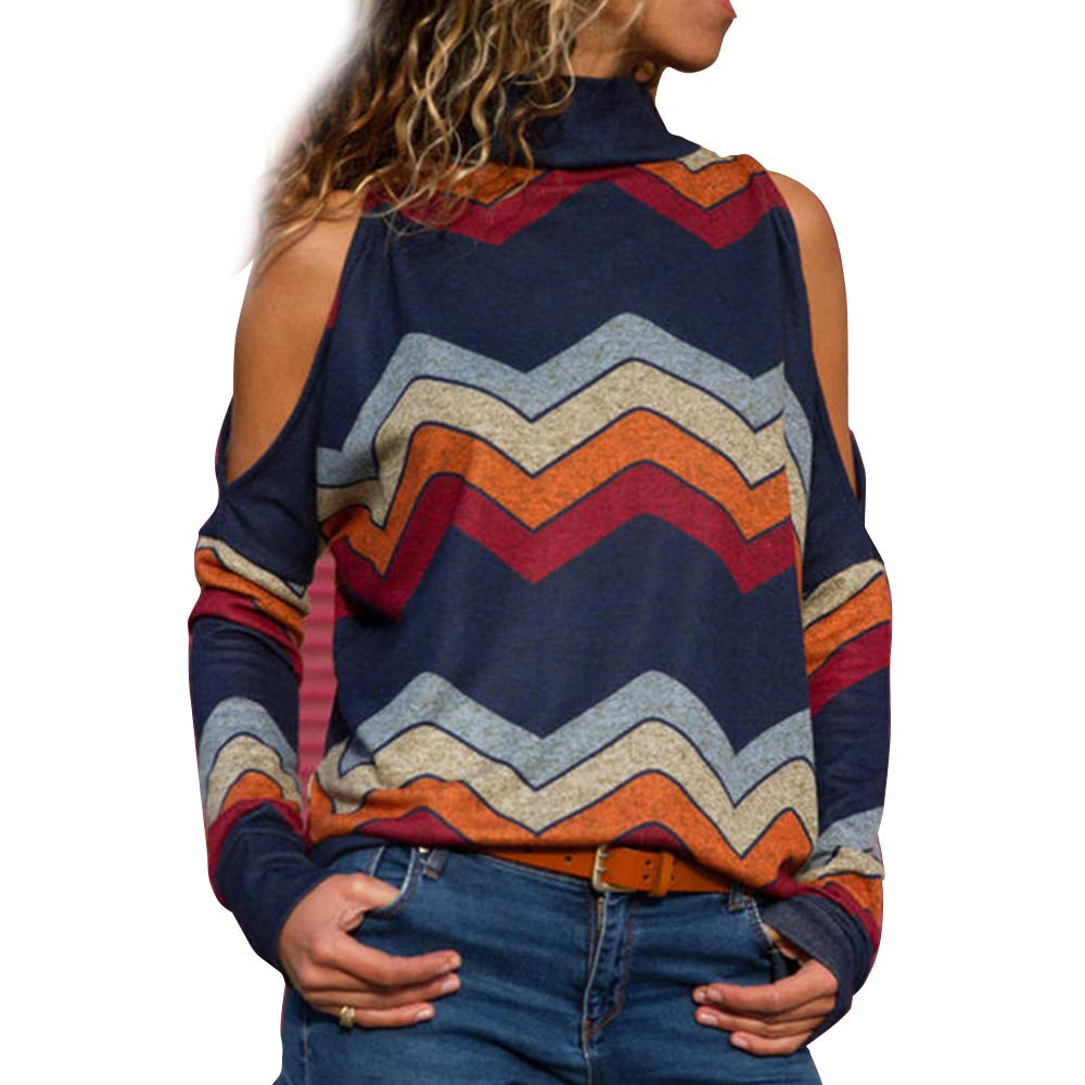 Pevor Womens Casual Henley Basic Shirts Long Sleeve Cold Shoulder Geometric Print Pullover Sweatshirts Plain Tunic Tops Blouse Navy L