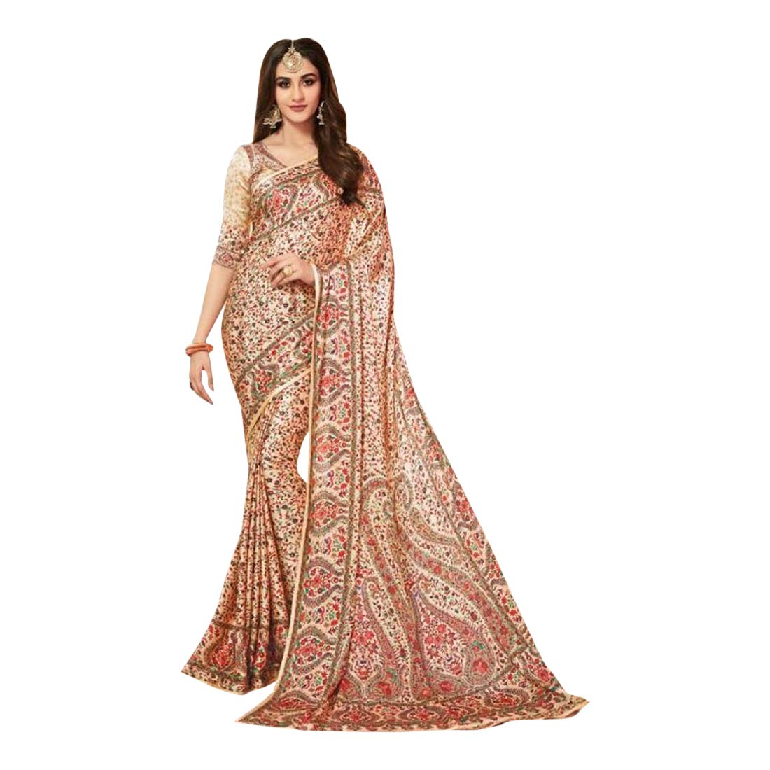 Stylish Indian Designer Sari Swarovski stone work Saree with Blouse for Women 7506