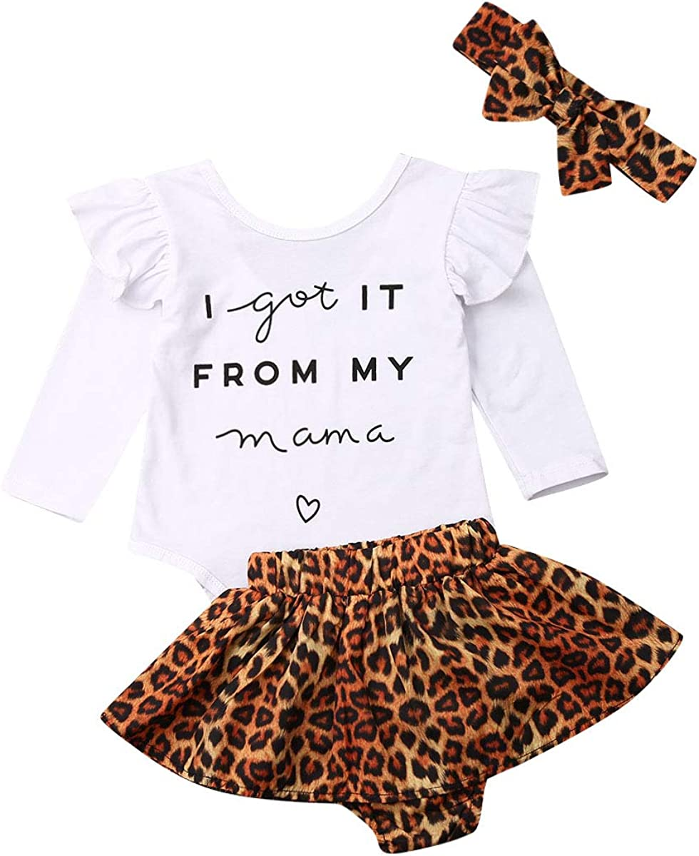3 Pieces Newborn Baby Girls Leopard Tops Romper Shorts Loose Headband Outfits