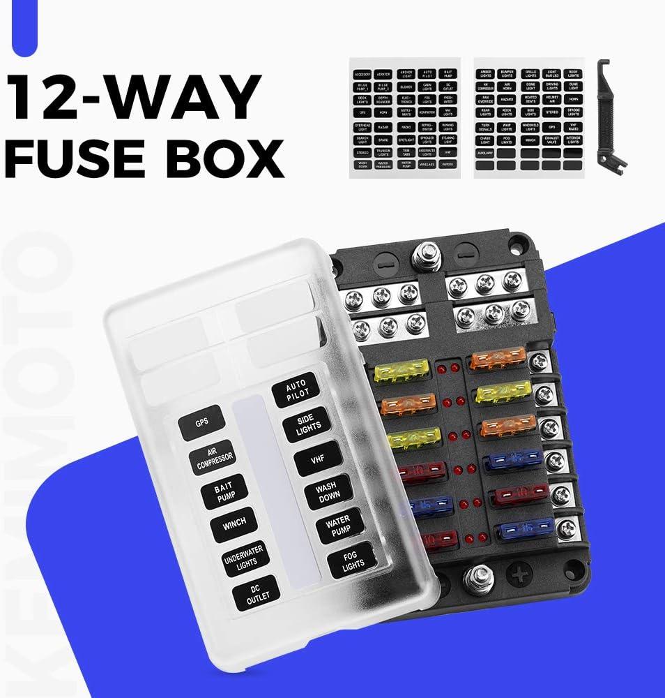 amazon.com: kemimoto fuse block 12 way blade fuse box with led ...  amazon.com