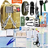 Monoki First Aid Survival Kit, 302Pcs Tactical Molle EMT IFAK Pouch Outdoor Gear EDC Emergency Survival Kits First Aid Kit Trauma Bag for Hiking Camping Hunting Car Travel or Adventures(Mud Yellow)