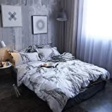 Black and White Twin Size Duvet Cover Set, Cute Graphic of Safari Giraffe 100% Natural Cotton Striped Bedding Sets Geometric Pattern Comforter Cover For Boys Men, Decorative 2 Piece