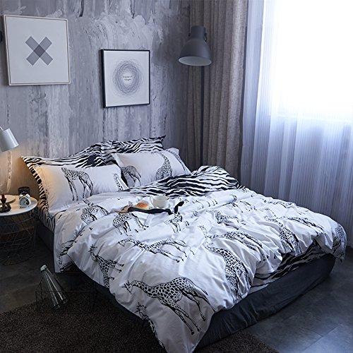 Black and White Twin Size Duvet Cover Set, Cute Graphic of Safari Giraffe 100% Natural Cotton Striped Bedding Sets Geometric Pattern Comforter Cover For Boys Men, Decorative 2 Piece