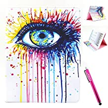 iPad 2 Case, Firefish [Bumper] [Kickstand] Anti-Slip Slim PU Leather Wallet with TPU Double Protection Flap Cover for Apple iPad 2/3/4 - Eye