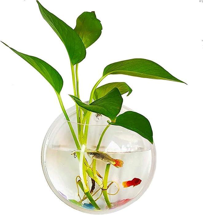 kathson Wall Fish Bowl Acrylic Hanging Aquarium Wall Mounted Bubble Betta Fish Tank (7.28in)