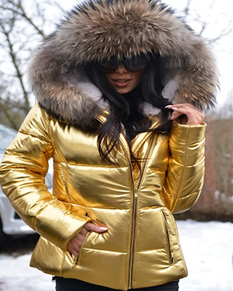 569e9f5a7 Roiii Women Winter Metallic High Waist Thicken Down Parka Faux Fur Jacket  Coat Size S-3XL