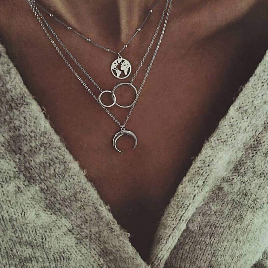Linselles Women Multilayer Necklace Elegant Fashion Boho Style Star Moon Multilayer Pendant Chain Necklace Necklaces