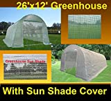 Green Garden Hot House Walk In Greenhouse 26'x12' + Sun Shade Cover - By DELTA Canopies