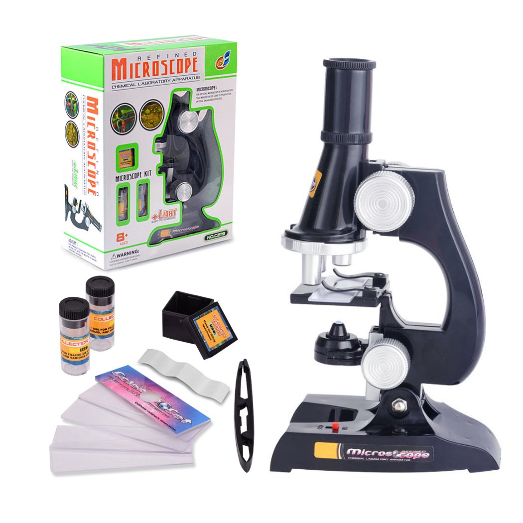 FUNRUI Kids Microscope, 450x, 200x, 100x Magnification Children Science Microscope Kit with LED Lights Includes Accessory Toy Set for Beginners Early Education by FUNRUI