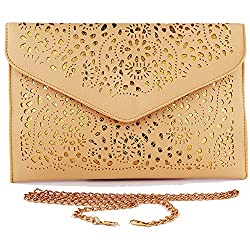 New Fashion Vintage Envelope Clutch Purse Clutches Women Bags For Women 2017 Evening Clutch Bags Womens Handbags And Purses Evening Purses Clutches Brown Handbag For Women Hollow Out Light Brown