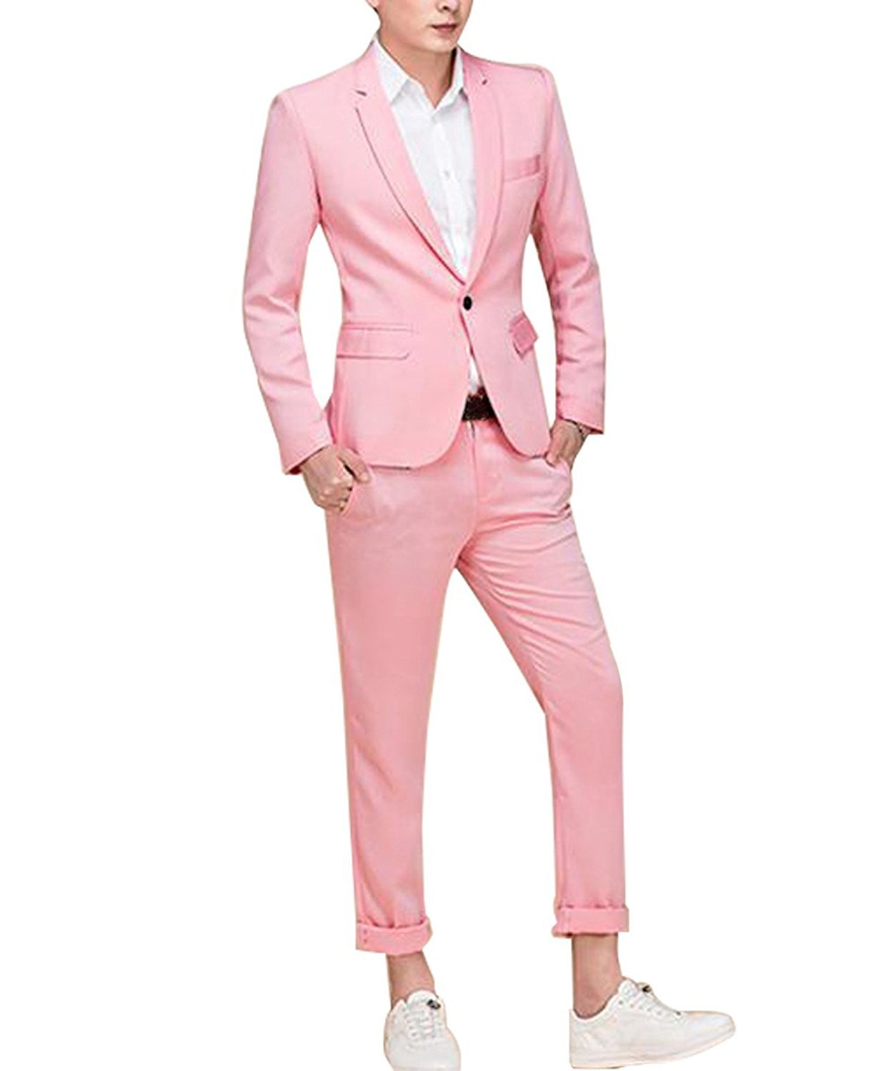 Men's Suit Single-Breasted One Button Center Vent 2 Pieces Slim Fit Formal Suits,Pink,X-Large by Cloudstyle
